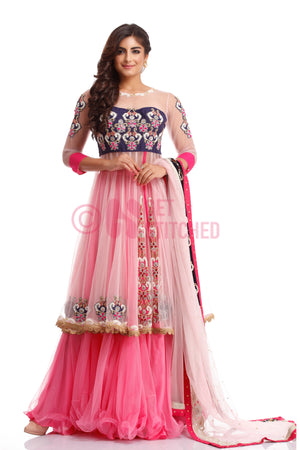 Baby Pink Short Anarkali with Skirt at your doorstep - Delhi