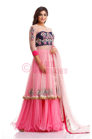Baby Pink Short Anarkali with Skirt