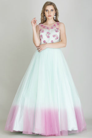Turquoise Blue and Pink Cocktail Gown