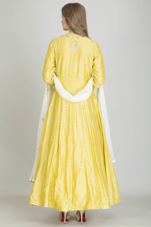 Mustard Yellow Embroidered Anghrakha Anarkali