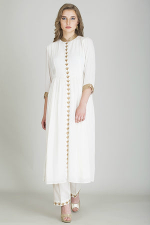Front Open Straight Kurta with Pant Combo