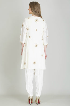 Front Open Embroidered Kurta with Straight Pant Combo