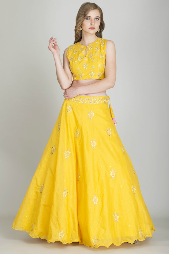 Turmeric Yellow Crop Top with Skirt