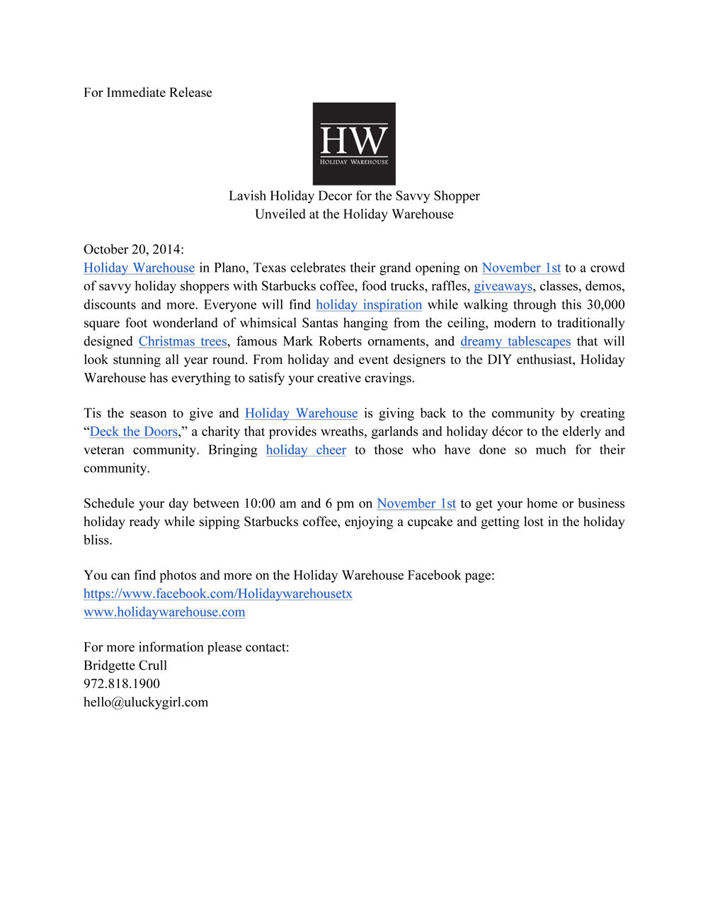 Holiday Warehouse Press Release