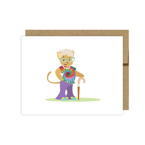Hippie Cat Note Cards-Cat Thank You Cards- U Lucky Girl