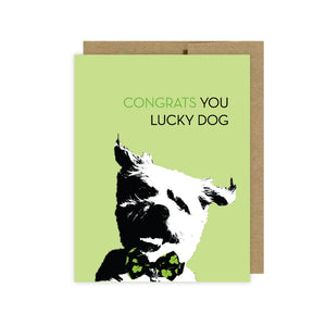 Funny Dog Themed-Greeting Cards-Congrats Lucky Dog