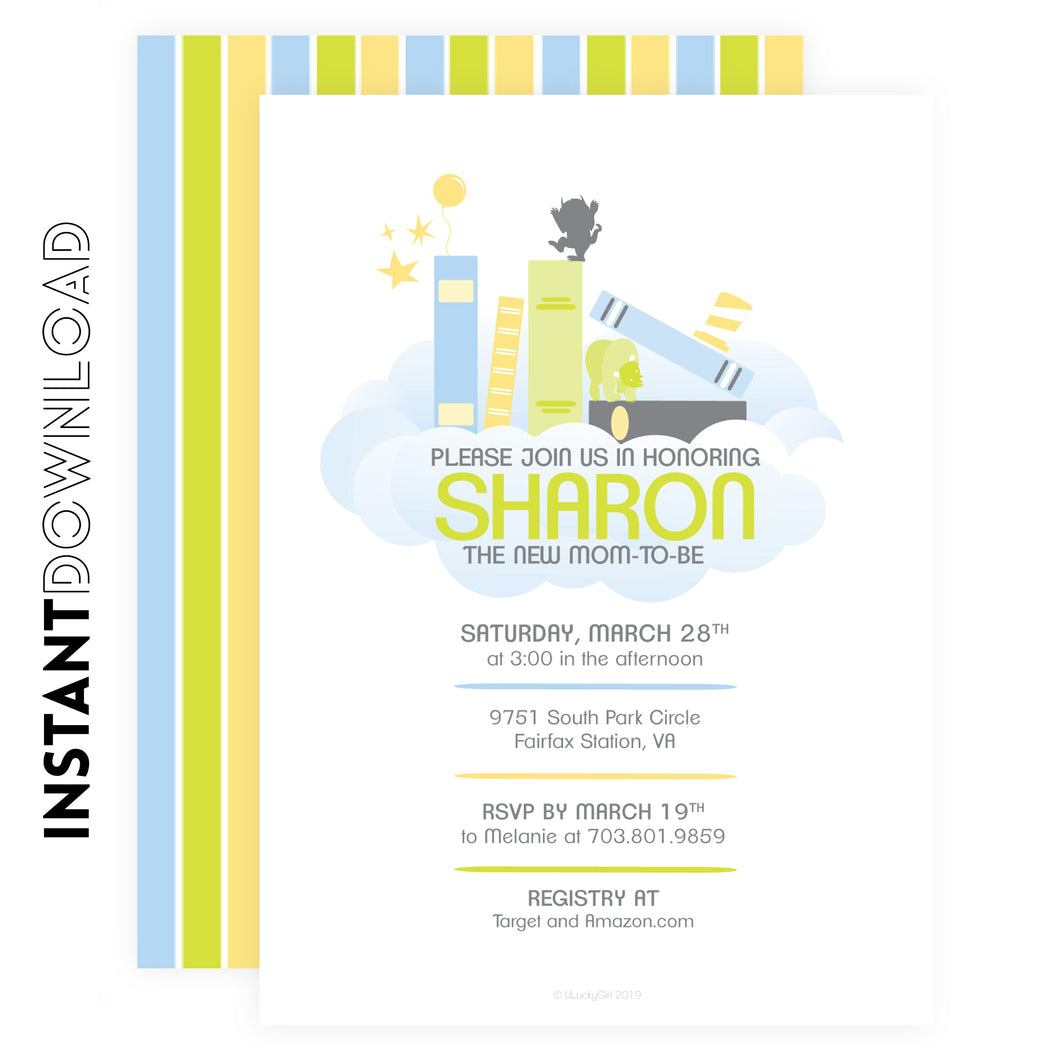 Baby Book Shower GoodNight Invite