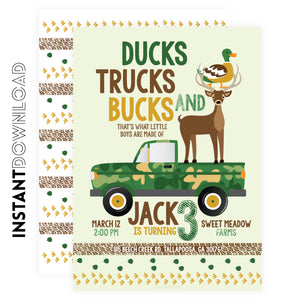 Ducks Bucks & Truck Kids Invitation