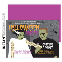 Bride of Frankenstein Halloween Engagement Invitation