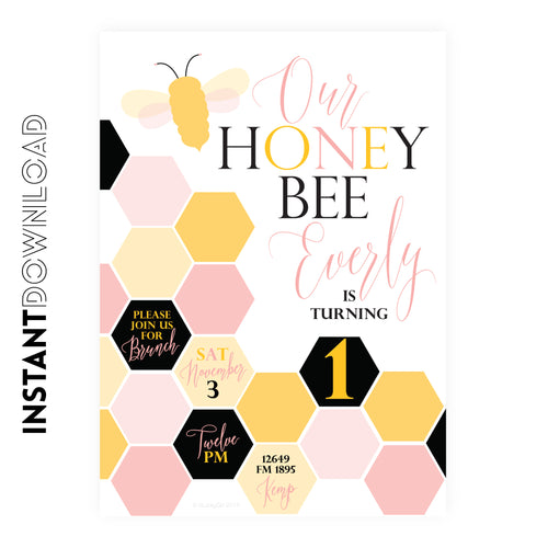Honey Bee Birthday Invitation