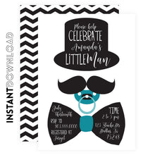 Little Man Top Hat Baby shower Invitations