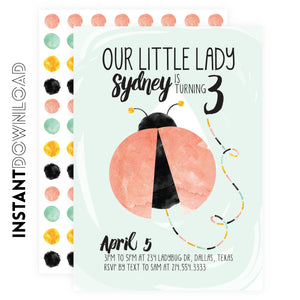 Lady Bug Party Invitation
