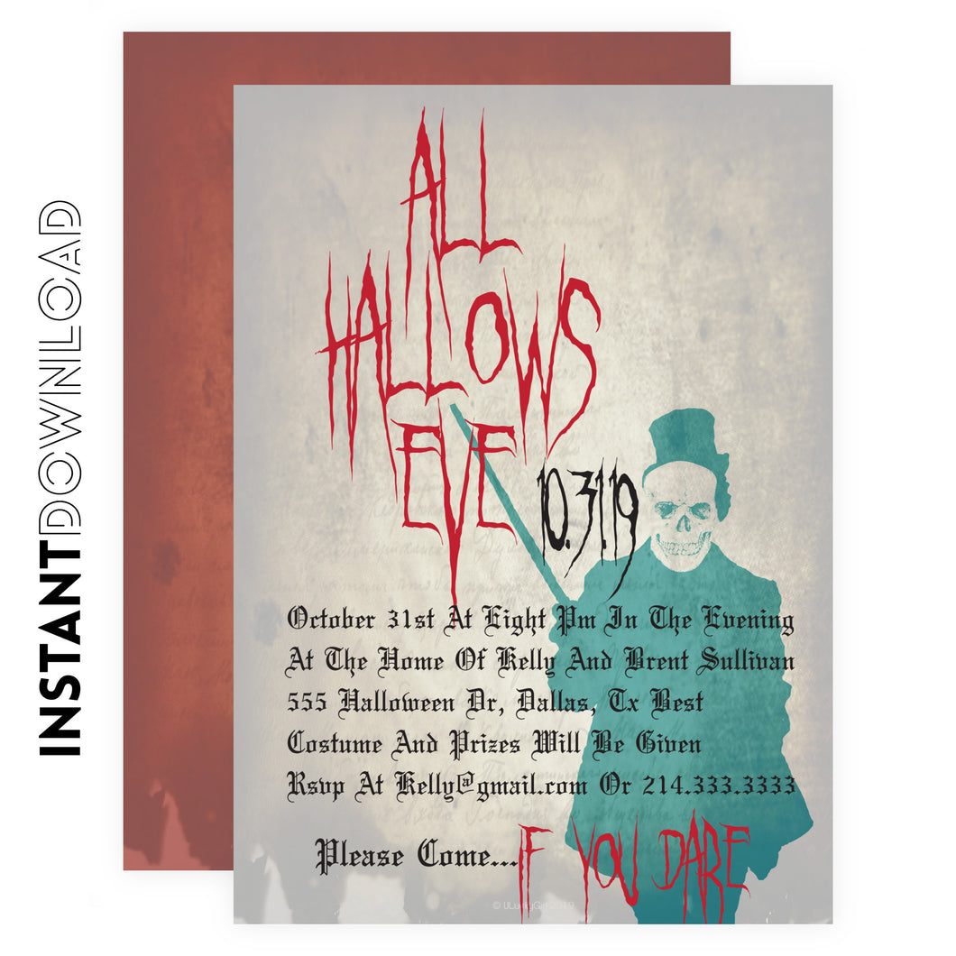 Creepy Skeleton Halloween Invitation