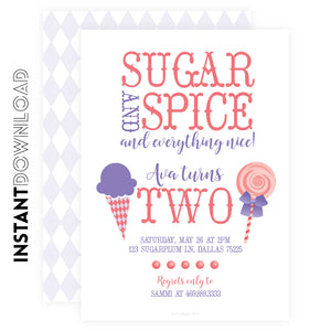 Sugar & Spice Baby Shower Invite