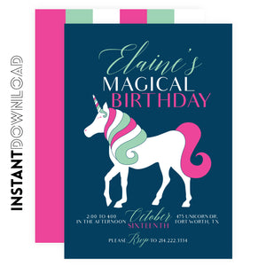 Unicorn Kids Party Invitation