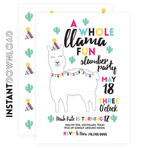 LLAMA Slumber Party Invitation