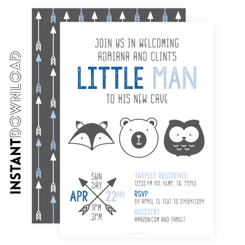Little Man Cave Baby shower Invitations