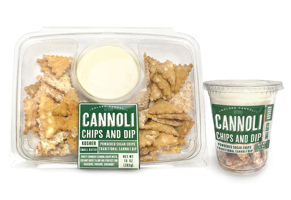 Chip & Dip platter and Grab & Go Cannoli Chip and dip products from Golden Cannoli Shells Co.
