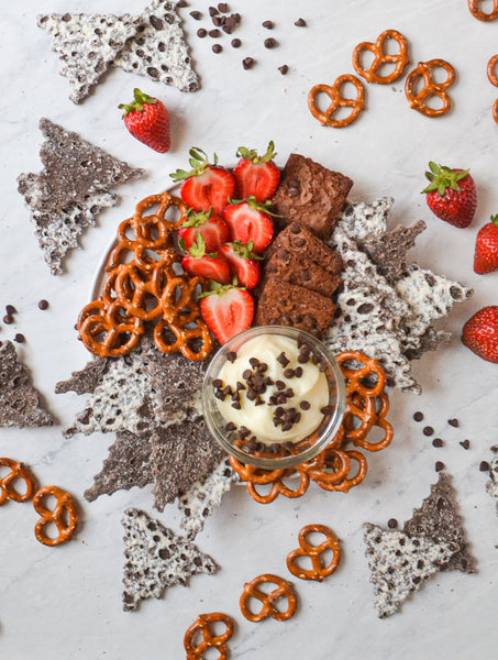 Cookies & Cream Cannoli Chip snack plate, brownie brittle, pretzels, Golden Cannoli, after school snack ideas