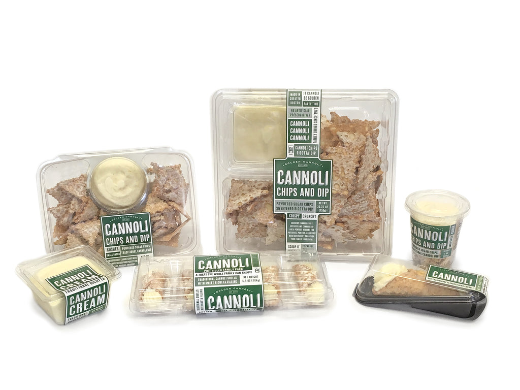 Prepackaged items from Golden Cannoli Shells Co, new packaging