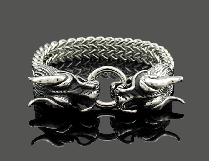 Two Headed Dragon Stainless Steel Bangle Bracelet