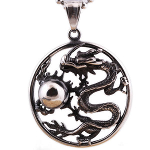 Steel Dragon Badge Necklace