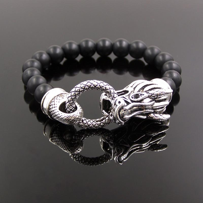 Pure 925 Sterling Silver Obsidian Dragon Head Bracelet