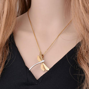 incredible 18k Gold & Stainless Steel Dragonfly Necklace