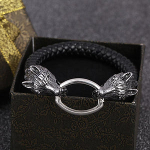 Stainless Steel Leather Wolf Head Bracelet