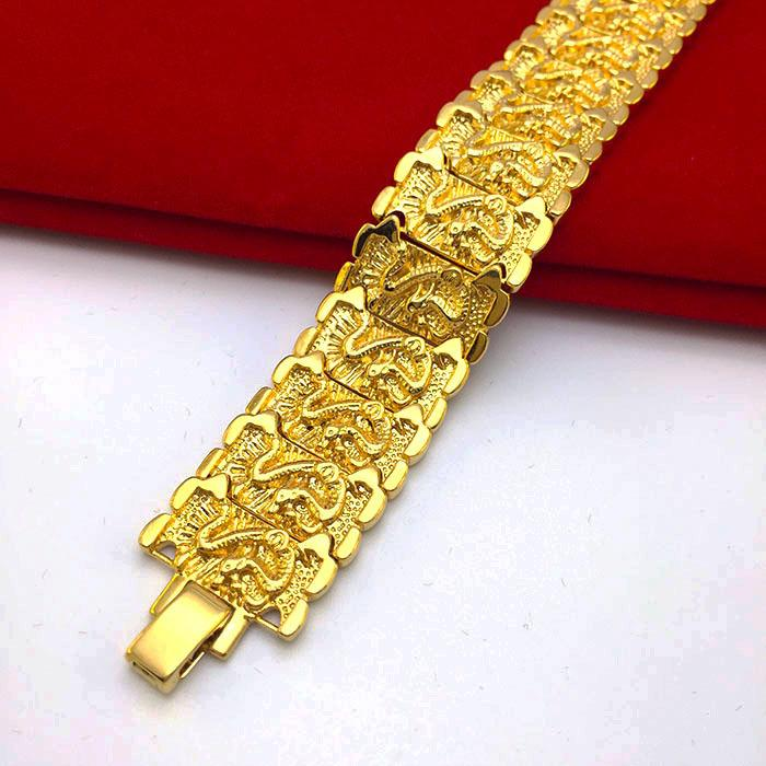 Solid 24k Gold Dragon Bracelet