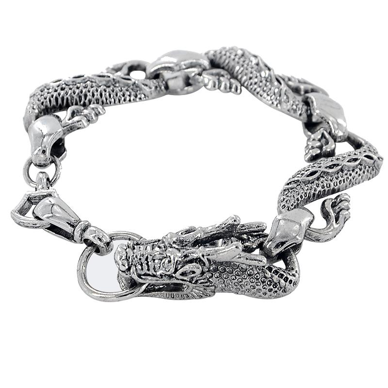 Sleek Stainless Steel Dragon Biker Bracelet