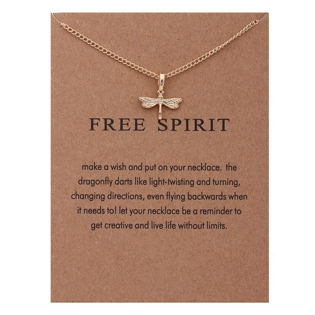 Free Spirit Dragonfly Pendant Necklace with Card