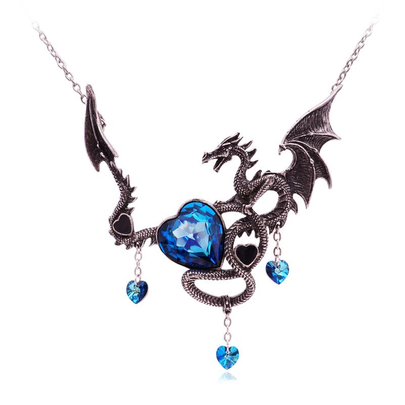 Mystic Crystal Heart Dragon Necklace