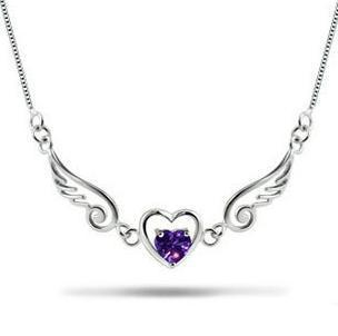 Love Angel Wings 925 Sterling Silver Necklace purple