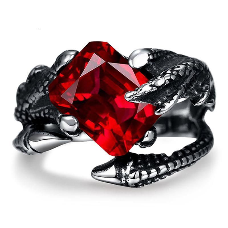 Red Stone Dragon Claw Silver Plated Ring