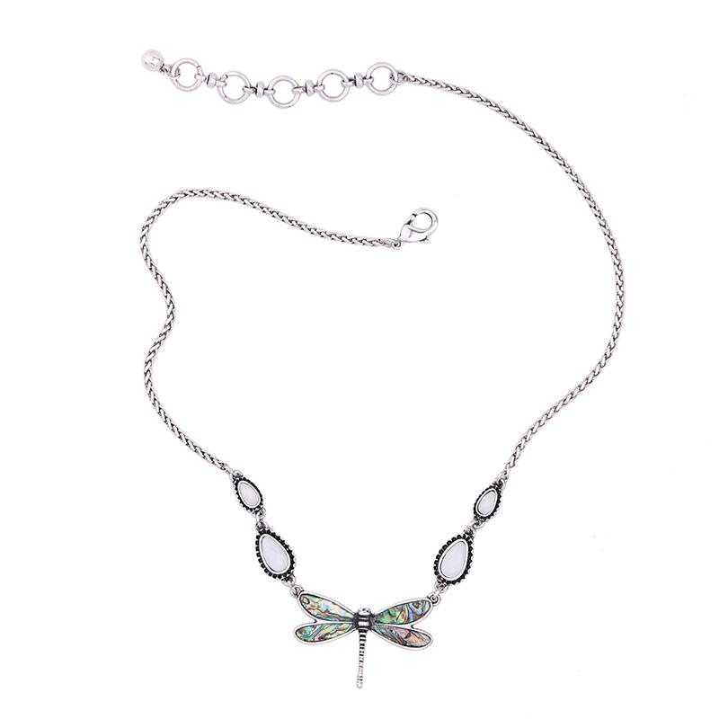 Stone Dragonfly Angel Necklace