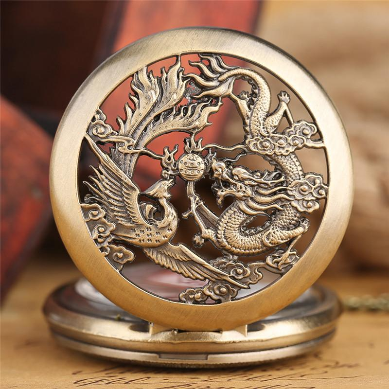 Half Hunter Hollow Dragon Pocket Chain Watch