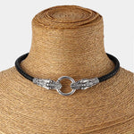 Dragon Couture Sterling Silver with Genuine Leather Choker