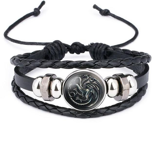 Game of Thrones Black Leather Bracelet 9 House Charm Bracelets
