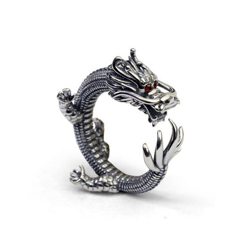 Sterling Silver Natural Stone Dragon Ring