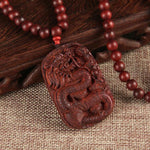 Sandalwood Carved Dragon Necklace