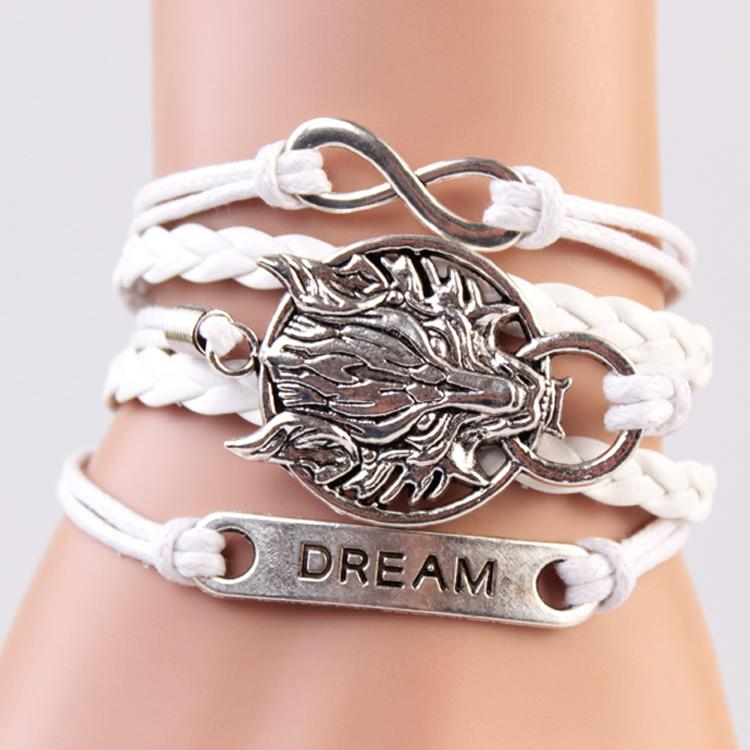 White Dragon Leather Charm Bracelet