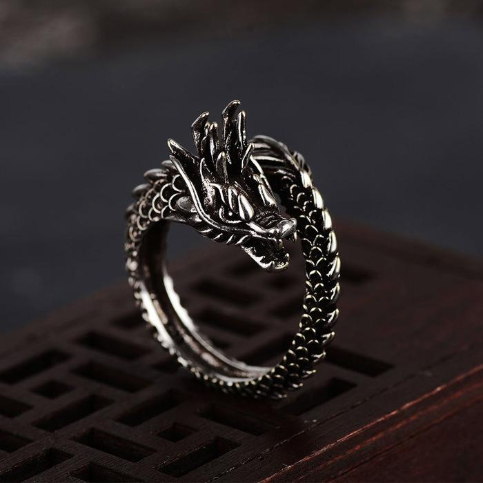 Fully Adjustable Black Dragon Ring