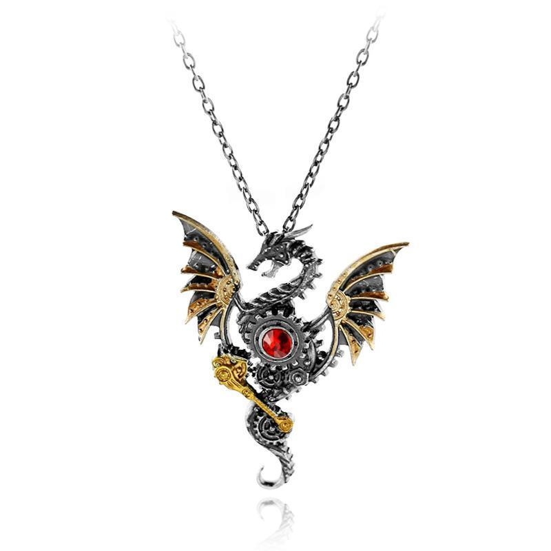 Vintage Ancient Dragon Steampunk Necklace
