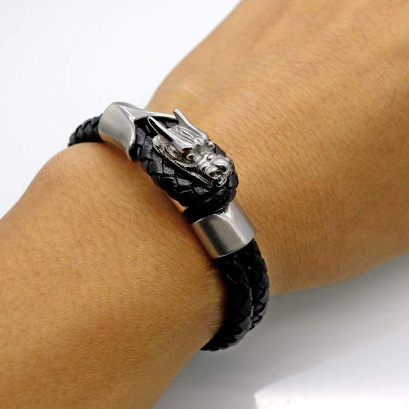 Leather Bangle Magnet Dragon Bracelet