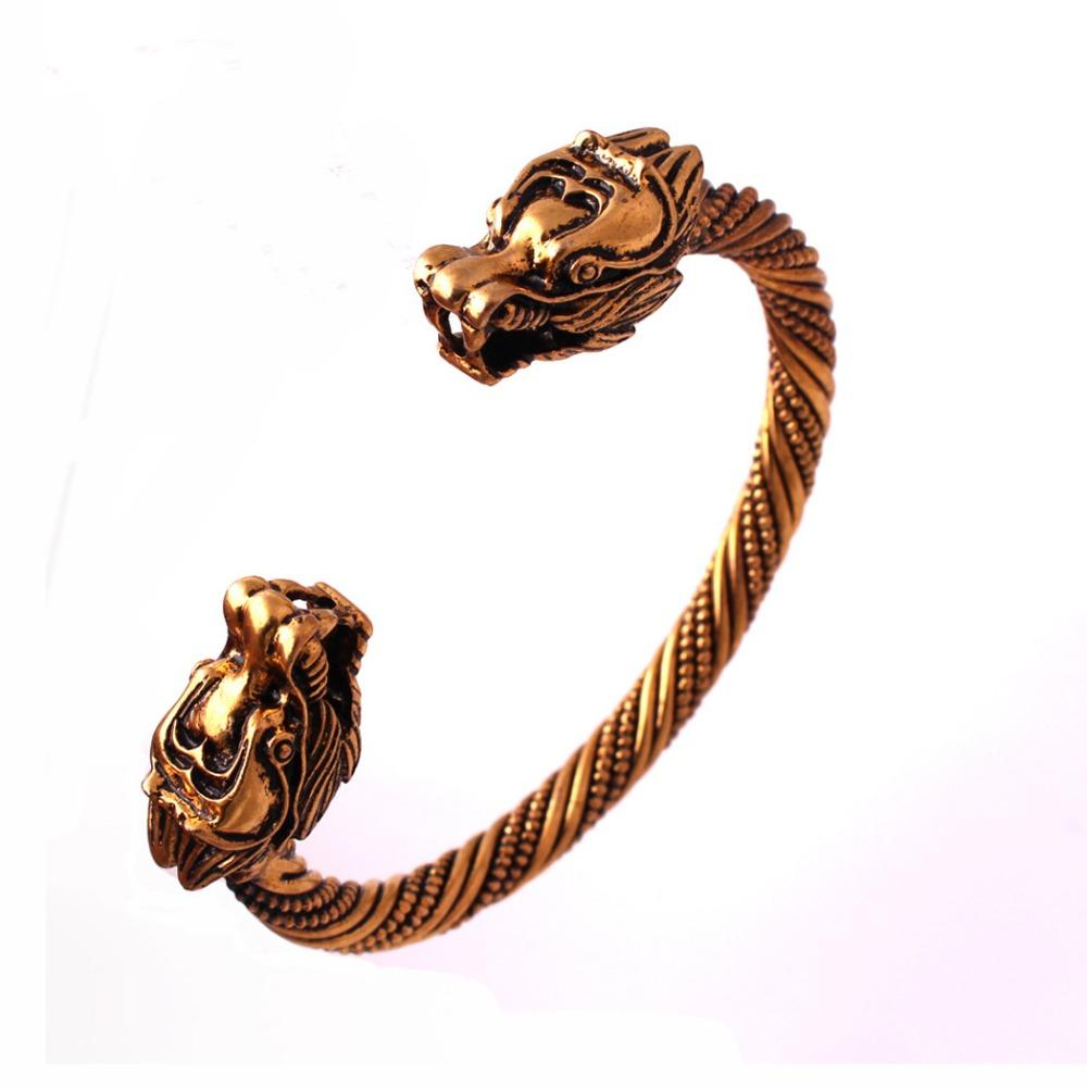 Amber Gold Nordic Dragon Bangle Bracelet