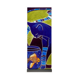 Blue Cat With Goldfish Yoga Mat