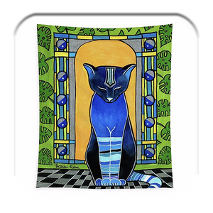 He Is Black - Blue Cat Art Tapestry