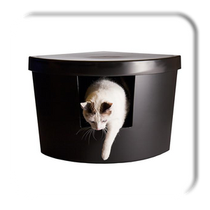 Kitangle Modern Cat Litter Box, Corner Kitty