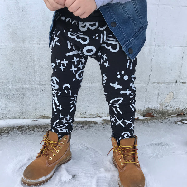 Graffiti Black White Kid Toddler Harem Pants